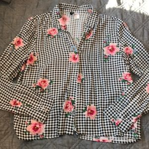 Checker Floral Button Down Crop Spring Clothes